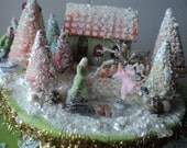 vintage christmas putz house scene with ice skaters
