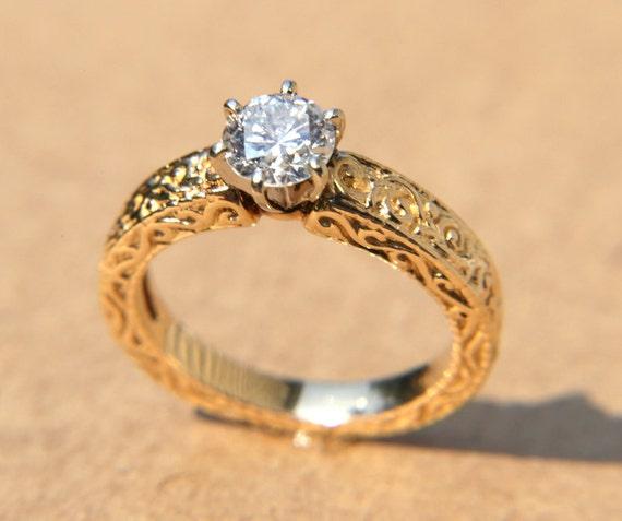 LA FLEUR - Engraved - Floral leaf Vintage Yellow gold Round Diamond Engagement ring - 14K - Bp031