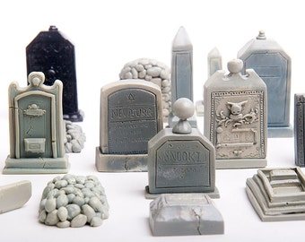 23-Piece Mini Cemetery or Graveyard Kit for Your Terrarium or Garden or Fish Tank or Whatever. Handmade from Poly Resin and Hand Painted