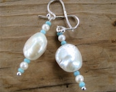 Baroque Pearl Earrings with Tiny Round Pearls and Vintage Aqua Seed Beads on Silver Filled French hooks - CatchingWaves