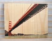 "Sailor's View: Golden Gate Bridge - 8""x10"" Distressed Photo Transfer on Wood"