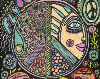 Hippie Scratch Board Mandala, Original,  Hippie Nights, Psychedelic Hippie Art, Funky Fun Hippie Art, Hippie Mandala, Meditation Mandala,