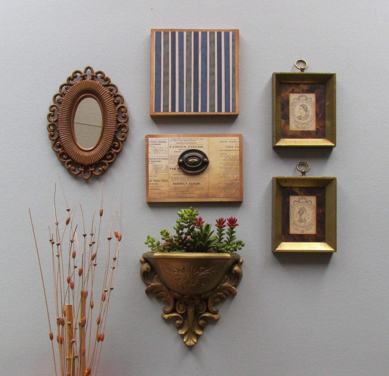 Boho Chic Wall Decor : Wall gallery boho chic pc vintage art with mirror