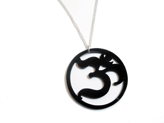 """Large Ohm Pendant Laser Cut Black Acrylic  on 24"""" Silver Plated Chain - 2.25 inch Acrylic Om Symbol Necklace"""