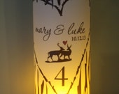 Table Numbers, Fairytale Wedding, Monogram wood deer couple  birch Luminary Centerpiece great for table Number Wedding Reception set of 10