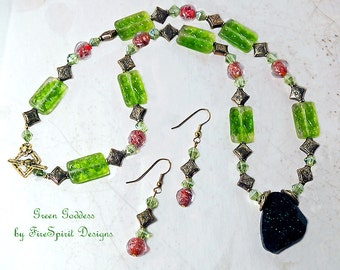 Green Goddess- handmade jewelry set- OOAK necklace & earrings- artisan jewelry set- beaded jewelry set- gift for her- vintage style- green