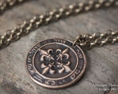 Astrologer's Shield Amulet - Solid Bronze Pendant - Unisex