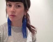 Long BLUE Glitter Super Kawaii Squid Tassel Earrings