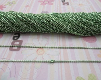 50pcs 1.5mm 27 inch light green color ball necklace chain with matching connector