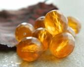 Glass Round Beads Czech Glass Beads Fire Polished 10mm Amber with Antique Matt Finish (15pcs)