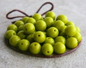 Druk Glass Beads, Czech Glass Beads, Druk Glass Round Beads, 6mm, Opaque Lime Green (50pcs) NEW