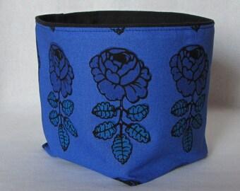"Blue Marimekko fabric basket, storage bin in ""Vihkiruusu"", blue or red, authentic Marimekko fabric from Finland, Hostess Gift"