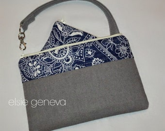 Grey Japanese Linen and Indigo / Navy Blue Paisley Phone Case Pouch Wristlet Zipper Olive Green Black