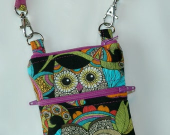 Owls Phone Case with Wristlet Optional Shoulder Strap - Orchid Turquoise Orange Green Black - Zipper Top Closure - Cross Body