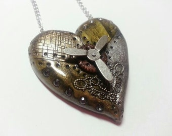 Steampunk Heart Necklace with spinning action valentines day gift