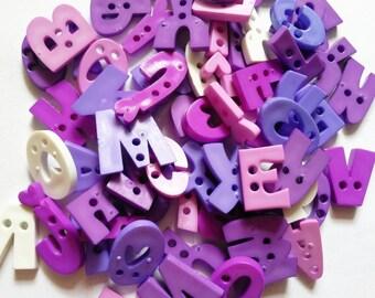 50 pcs fancy mix alphabet and number button 2 hole - Random Pick mix color purple tone