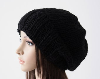 Slouchy Hat  Women's Slouchy Beanie Hand Knit Hat Fall Fashion Winter Accessories Black