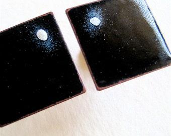 Enamel Copper Cuff Links Black Enamel Full MOON