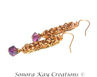 Ready To Ship  Byzantine Chainmaille Earrings in Copper with  6mm Amethyst color   Swarovski Crystal Accents