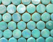 Aquamarine Teal Penny Round Iridescent Glass Mosaic Tiles/Mosaic Pieces/Mosaic Supplies/Craft/Jewelry Supply