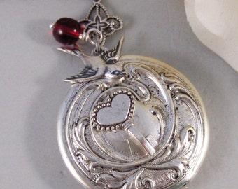 Love Spell,Locket,Silver,Garnet,Red,Gem,Love,Spell,Perfume,Antique Locket,Jewelry,Scent Locket,. Handmade jewelry by valleygirldesigns.