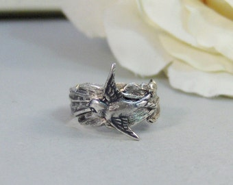 Angel's Sparrow,Ring,Silver,Bird,Angel,Sparrow,Antique Ring,Silver Ring,Bird Ring,Woodland,Wedding,Bridesmaid. jewelery valleygirldesigns.