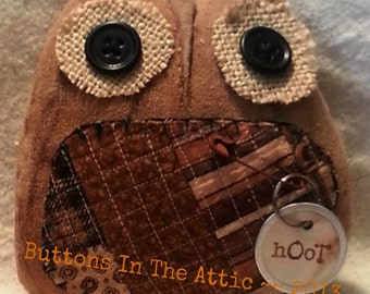 Primitive Owl ~~ Cutter Quilt ~~ Primitive Home Decor ~~ Cottage Chic ~~ Whimsy ~~ Hostess Gift ~~ FAAPFALL ~~ OFG Team