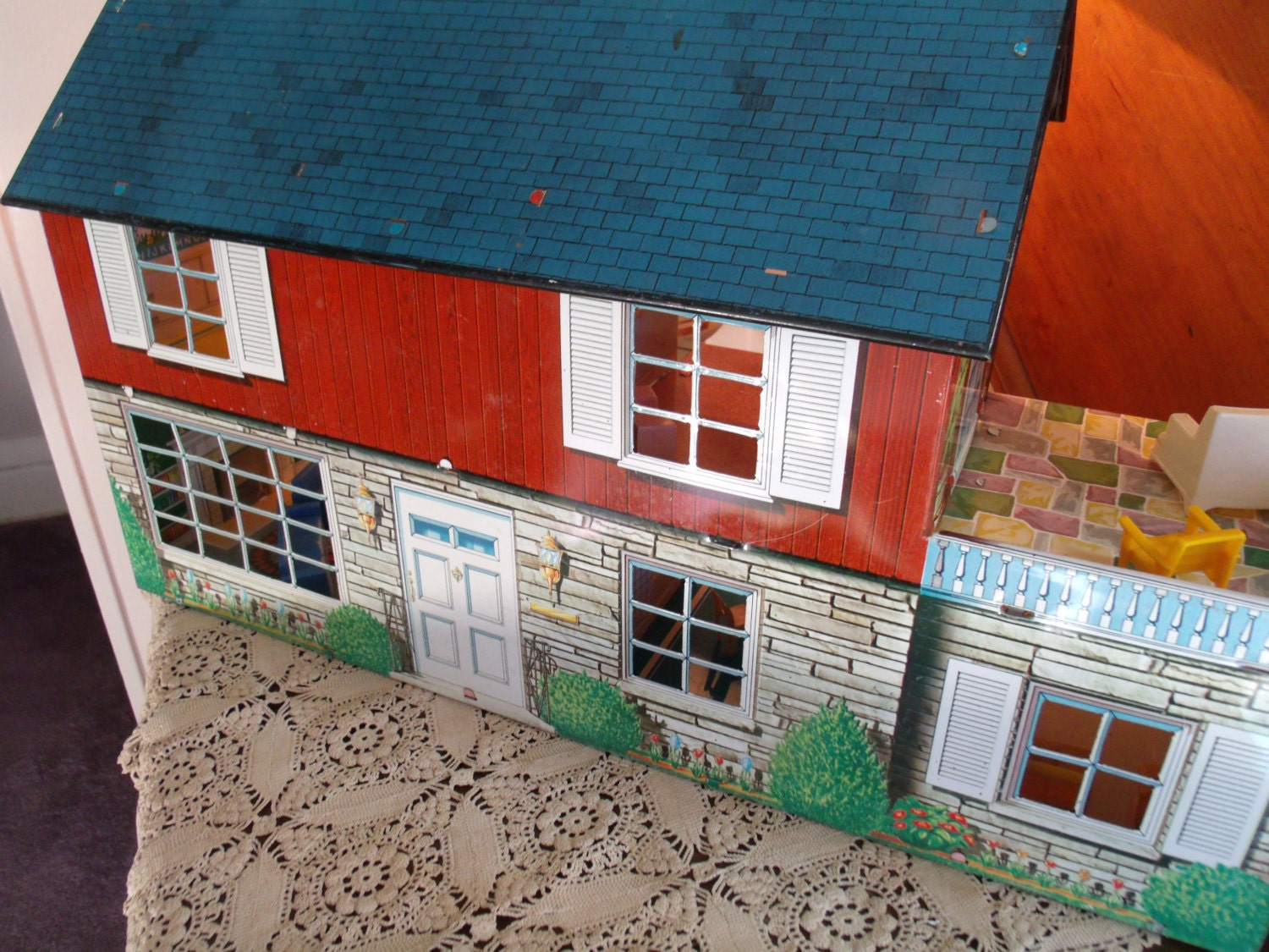 Saleandgt1950s Metal Doll House Marx Toy House 2 Story