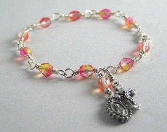 Sacred Heart Rosary Bracelet with Czech Glass Beads