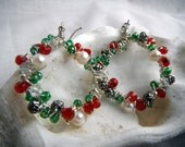 Wire Wrap Earrings - Silver Christmas Wreath with Pearls