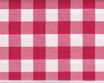 "Fat Quarter 1 Inch Red Gingham Check Blend Fabric - 18"" X 24"" 4 Charm Quilt Piecing - Patchwork - Sewing Craft Material 2029 FQ"