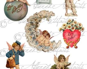 Instant Download Cupids Dream Valentine Vintage Digital Clip Art Collage Sheet