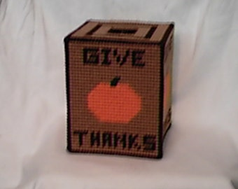 Give Thanks Tissue Box Cover PDF Plastic Canvas Pattern