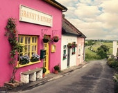 Ireland Photography - Cashel pink building Granny's Kitchen small town road side green landscape tourist attraction blue green yellow