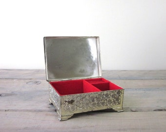 Vintage Silver Plate Jewelry Box with Red Lining