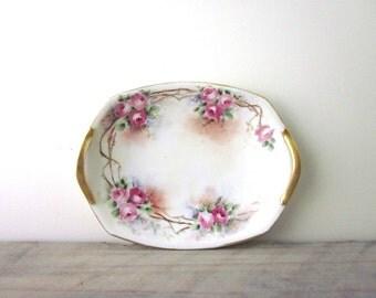 Small Hand Painted China Vanity Tray Dish Signed