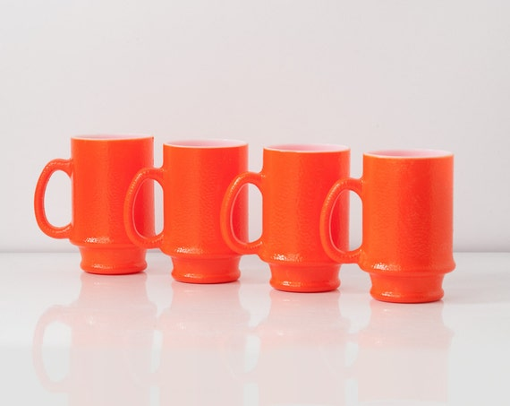 Vintage Atomic Orange Milk Glass Mugs - Set of 4 Nesting Cups Mid Century 1950s Serving