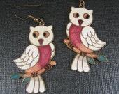 Owl Cloisonne  Earrings 1970s Ready to Wear or  Repurpose White Vintage Owls/ Owl Pendants