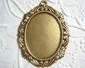 Antiqued brass 40x30mm ornate cameo cabochon setting - BQ168