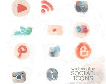 Hand Drawn Watercolor Social Icons Clipart for Blog and Web - Twitter, Blogger, Google Plus, Pinterest, Instagram, RSS, Flickr, YouTube