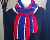 Crochet Scarf, Belize Flag Colours, Crochet Scarf, Red, White and Blue Scarf, Adult Crochet Scarf, Unisex Crochet Scarf  **made to order**