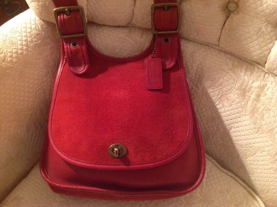 Vintage Coach Red Leather Suede Saddle Bag No 9014 Hippie Fashionable Traditional Style/ Back To School Bag