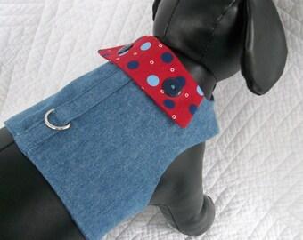Denim  Boys Dog Harness Vest Custom Made