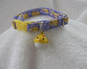 Easter Cat Collar  with Chick bell Breakaway Collar Custom Made