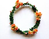 Flower Girl mini halo circlet wreath in pink, tangerine or ivory cocoa brown.  Flower Girls, fairies, photo prop and birthday girls.