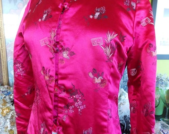 Ruby Red satin vintage dress jacket asian brocade