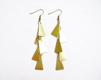 Geometric  Earrings, Triangle Statement Earrings, Dangle Geometric Jewelry