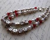 Personal Mothers Bracelet Name Bracelet 2 strand multi strand Pearl Bracelet Crystal Sterling Silver