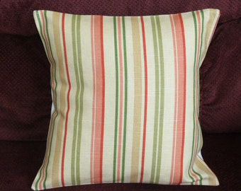 Throw Pillow Cover Decorative Pillow Cover Accent Pillow Cushion Cover Green Coral  Beige Stripes 16 x 16