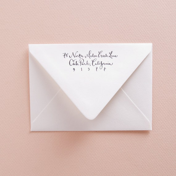 Custom Calligraphy Address Stamp From Kmcalligraphy On